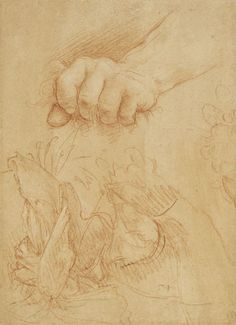 Cesare da Sesto, A study of a left hand and wrist, Milan, c.1510-15, Red chalk, with white heightening, on pale red prepared paper, 21.1 x 15.3 cm