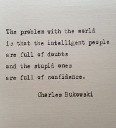 Charles Bukowski quote hand typed on antique typewriter