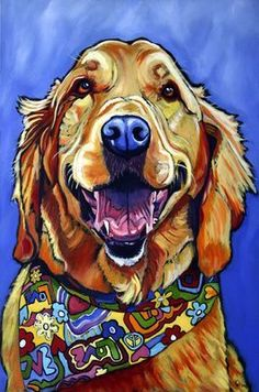 I like the use of the scarf with lots of colors in this dog painting. Must remem… I like the use of the scarf with lots of colors in this dog painting. Must remember this for my quilting dog art. Animal Paintings, Animal Drawings, Golden Retriever Kunst, Dog Quilts, Arte Pop, Dog Portraits, Dog Art, Dog Love, Pets
