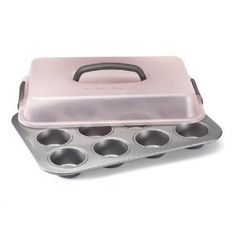 Calphalon 12-c. Nonstick Classic Nonstick Bakeware Portable Cupcake Pan by Calphalon. $24.95. Dishwasher safe for easy cleaning. Aluminized steel construction resists rusting. Extra-tall cover locks for easy portability. Reinforced nonstick for long-lasting durability. Bake your favorite cupcakes, muffins, quick breads and mini angel food cakes, then lock on the handled cover to carry your creations to the kids' classroom, your office or the block party. Designed of h...