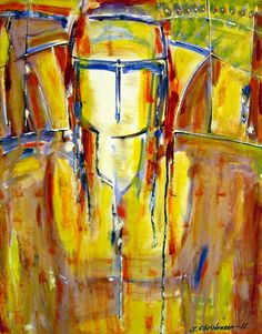 Yellow samurai,Olie på lærred (50x40) 2011 af Svend Christensen