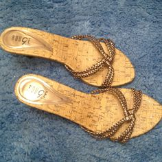 Sandals by Rouge Copper braided look band sandals. Heels, and corky bottom. Comfortable to walk in Rouge Shoes Sandals