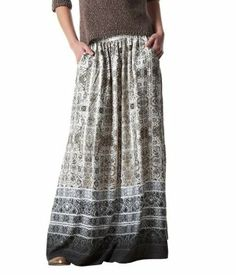 Long, printed skirt ecru print - Promod