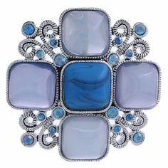 #99542 Jewel Floral Brooch Pin-Blue