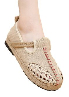 Soojun Women's Linen Exotic Handmade Casual Original Flat Sandals Size US 7 Beige. Check Soojun Size Chart(Product Description)to get a perfect fit. Breathable and Durable Cotton Linen. Soft, Light, and Super Comfortable. Please find the matched cute linen dresses in our stores. Espadrille featuring jute-wrapped midsole, crochet accents.
