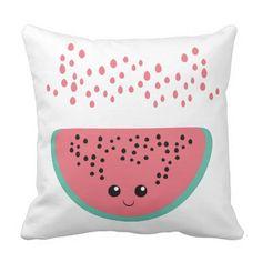 watermelon kawaii by VanGalt , , Watermelon Outfit, Watermelon Patch, Cute Watermelon, Diy Pillows, Decorative Throw Pillows, Cushions, Crazy Home, Pillow Design, Outdoor Pillow