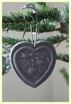 Christmas heart made from salt bread dough, with a springerle mould.