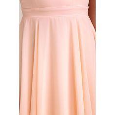 Forevermore Peach Skater Dress ($59) ❤ liked on Polyvore featuring dresses, halter skater dress, flare dresses, flared skirt, halter dress and pink fit-and-flare dresses