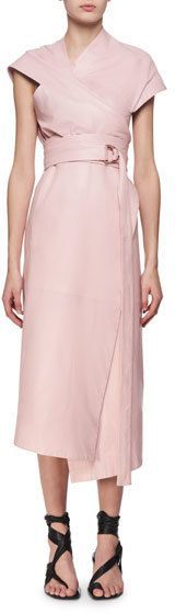 Proenza Schouler Belted Leather Asymmetric Midi Wrap Dress, Pink