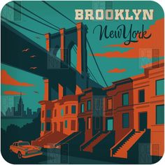 Visit NYC | Brooklyn Bridge | Poster Design | Artist Illustration | City Travel | Art