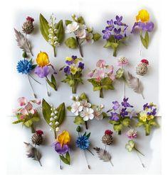 Faux Flowers, Diy Flowers, Floral Flowers, Crochet Flowers, Paper Flowers, Polymer Clay Flowers, Polymer Clay Jewelry, Handmade Polymer Clay, Diy Boutonniere
