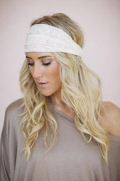 Ivory Lace Headband in Ivory Lacey Wide Headband by ThreeBirdNest, $18.00