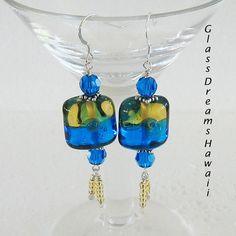 Glass Earrings Dangle Earrings Handmade Glass by GlassDreamsHawaii