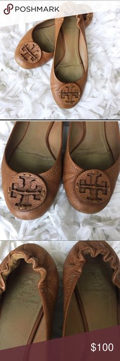 Tory Burch tan flats Bought from fellow posher. Too small for my big feet. In great condition slightly used, size 9. Comment with questions. Tory Burch Shoes Flats & Loafers
