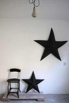stars and concrete Black industrial stars a concrete flooring and an industrial chair on reclaimed wooden planks