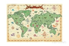 Colorful Ancient World Map Art Print