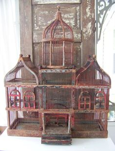 Huge Victorian Antique Bird Cage-Chippy Paint Wooden-1900's-1910 Oriental Birdcage-Very Unique. $585.00, via Etsy.