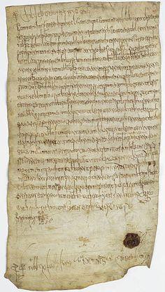 Jugement de Childebert III qui accorde à l'abbaye St-Denis la terre de Hodenc-l'Evêque dans l'Oise. 23 décembre 695- Archives Nationales - AE-II-20 - Category:Merovingian manuscripts