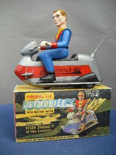 Fairylite Steve Zodiac Fireball Jetmobile from a rare friction toy with its original retail box Vintage Toys 1960s, 1960s Toys, 1980s, Retro Robot, Retro Toys, Gi Joe, Thunderbirds Are Go, Space Toys, Tin Toys
