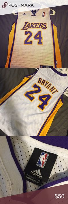 Authentic Child Size KOBE BRYANT JERSEY Kobe Bryant jersey AUTHENTIC child size. However I'm 5'10 and wore this as a shirt. Worn once to a game Adidas Tops Tank Tops