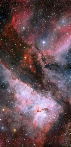 The Eta Carinae regions of the Carina Nebula This panoramic view combines a new image of the field around the Wolf–Rayet star WR 22 in the Carina Nebula with an earlier picture of the region around the unique star Eta Carinae in the heart of the nebula. The picture was created from images taken with the Wide Field Imager on the MPG/ESO 2.2-metre telescope at ESO's La Silla Observatory in Chile. Credit: ESO/La Silla