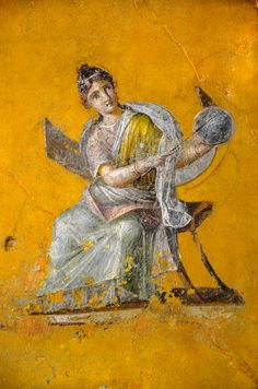 Fresco fragment depicting Urania, Muse of astronomy, from the House of Julia Felix in Pompeii, CE. From the Empire of colour. From Pompeii to Southern Gaul exhibition. At the Musée Saint-Raymond Toulouse (Photo taken by Carole Raddato) Mural Painting, Roman Painting, Ancient, Ancient Roman Art, Painting, Greek Art, Art, Art History, Ancient Paintings