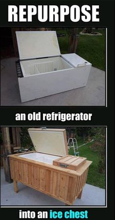 Up cycle an old refrigerator into an ice chest. Great for patios.