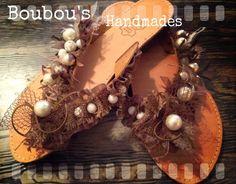 Handmade DIY leather sandals!!!!!burlap, pearls, brown colours, ribbons