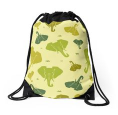 Elephants. Seamless pattern. Green. by floraaplus