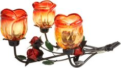 Triple Rose Laying Romantic Candle Holder - This product has very nice finish, each 'rose' holder is made of glass. Dimensions: H: L: Night-lights not included. Rose Candle, Candle Set, Wholesale Candle Holders, Romantic Roses, Gift Hampers, Tea Lights, Night Lights, Tea Light Holder, Pillar Candles