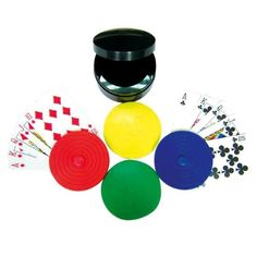 Deluxe Round Playing Card Handheld Easy Holders with Black Storage Case (Set of 4), Casino Accessory $8.95