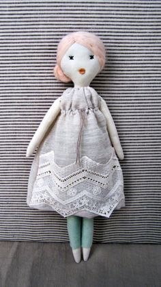 Cloth doll Rag doll handmade retro one of a by lespetitesmainsS, $120.00