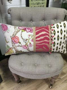 Multi-patterned rectangular decorative pillow with by HomeonHaddon