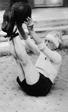 Elsie De Wolfe 1935 - 'a life in high style' clearly included working out in ballet flats. What a tenacious old bird!