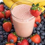 Jenny Craig Breakfast recipe: Fruit Smoothie 1 banana  1 cup  strawberries  1/2 cup raspberries and/or blueberries  1 (6oz) vanilla yogurt  1 cup nonfat milk  4 Tbls fat-free whipped topping   Directions      Blend fruit, yogurt and milk in blender until smooth.     Pour into tall glass and top with whipped topping.