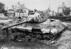 Knocked out German Tiger II tanks in France 1944