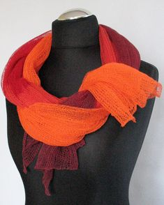 Linen Scarf Shawl Wrap Stole yellow orange red by Initasworks, $78.00