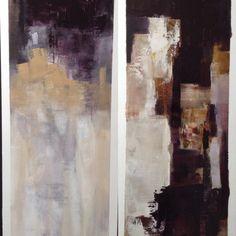 Travail préparatoire des toiles sur des papiers huile-Yin et Yang-Nadia Barbotin