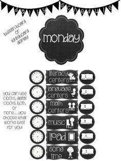 87 Chalkboard Inspired Daily Schedule Cards plus More...
