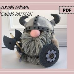Christmas Gnome, Christmas Angels, Winter Christmas, Pdf Sewing Patterns, Sewing Tutorials, Tutorial Sewing, Viking Pattern, Viking Decor, Gnome Tutorial