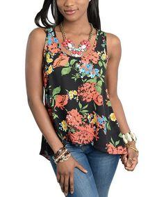 Look what I found on #zulily! Black & Orange Floral Cutout Tank #zulilyfinds