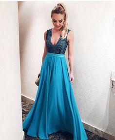 Blue A Line Prom Dress,Backless Prom Dress,MB 420