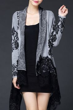 Bstn Gray Lace Splicing Asymmetric Cardigan | Cardigans at DEZZAL Click on picture to purchase!