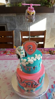 Elegant Picture of 2 Year Old Birthday Cake 2 Year Old Birthday Cake Paw Patrol Skye Everest Girl Cake For My 2 Year Old Daughter Lilys Girls Paw Patrol Cake, Skye Paw Patrol Cake, Torta Paw Patrol, Paw Patrol Birthday Girl, Paw Patrol Party, 2 Year Old Birthday Party Girl, Joint Birthday Parties, Girls Birthday Party Themes, Birthday Ideas