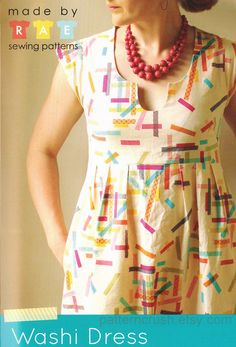 Printed WASHI dress sewing pattern by Made by Rae - women's sizes XS - XXL
