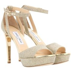 Pre-owned Jimmy Choo Kayden Glitter Metallic Sandals (384.160 CLP) ❤ liked on Polyvore featuring shoes, sandals, glitter metallic, gold glitter sandals, gold shoes, metallic gold shoes, gold glitter shoes and gold bridal shoes