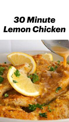 Healthy Lemon Chicken Recipe, Healthy Chicken Dinner, Cheap Chicken Recipes, Chicken Breast Recipes Healthy, Lemon Chicken Sauce, Healthy Chicken Bake Recipes, Easy Chicken Dishes, Chicken Artichoke Recipes, Chicken Breats Recipes