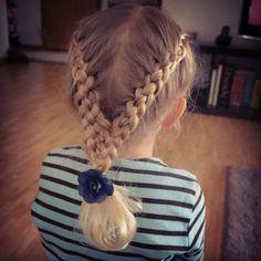 two four strand french braids into a cheat's 9-strand braid
