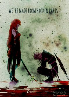 """We're made from broken parts."" Diabolic Esper and Crimson Avenger."