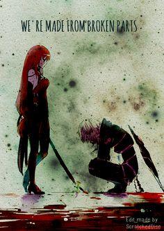 """We're made from broken parts."" Diabolic Esper and Crimson Avenger."